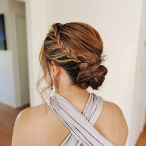 прическа за дълга коса с плетен кок
